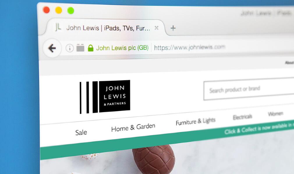 Screenshot of John Lewis' website