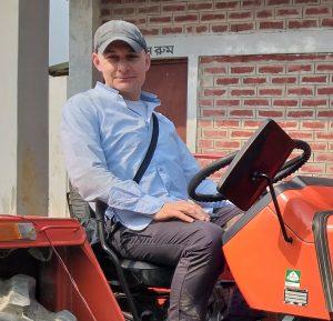 Matt on a tractor