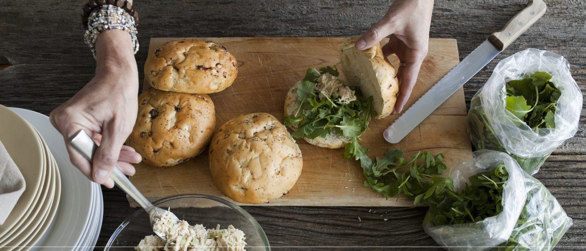 Making Chicken Salad Sandwiches