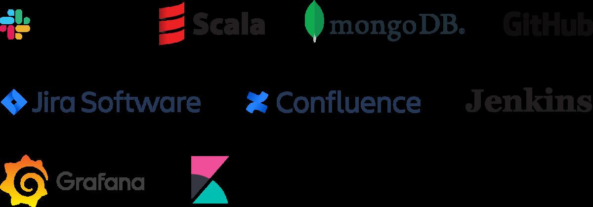 Logos for AWS, Github, Jira Software, Slack, Kibana, Scala, MongoDB, Grafana, Jenkins and Confluence